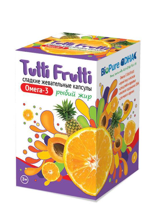 Купить Tutti Frutti Омега-3 №45 (Сладкие жевательные капсулы), 0.1 кг/Натуральный