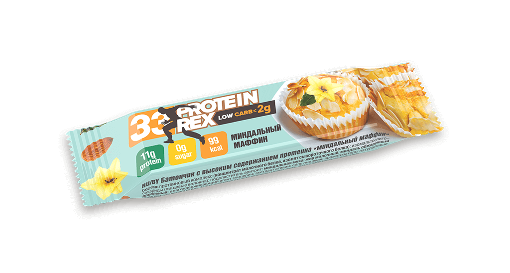 Купить Батончик с высоким содержанием протеина «миндальный маффин», 35 гр.